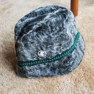 Vintage Faux Fur Bucket Hat with Trim Detail